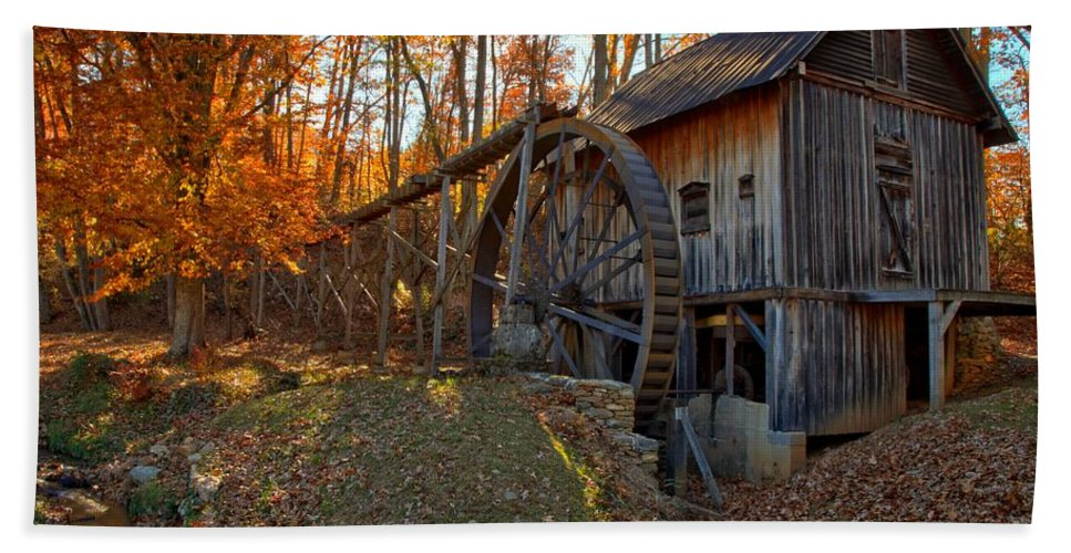 Grist Mill Bath Sheet featuring the photograph Historic Grist Mill With Fall Foliage by Adam Jewell