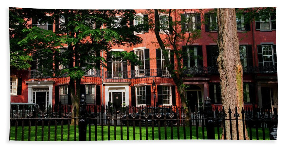 Photography Bath Sheet featuring the photograph Historic Homes Of Beacon Hill, Boston by Panoramic Images