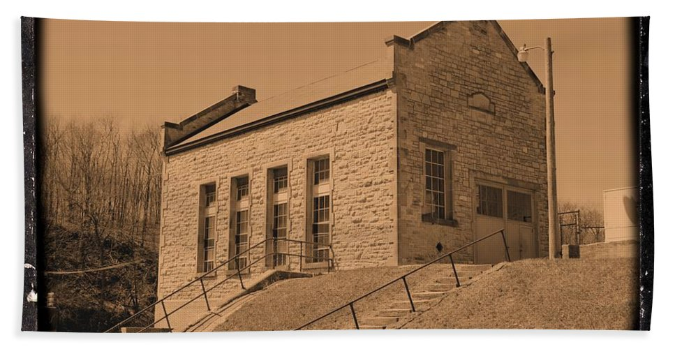 Dam Hand Towel featuring the photograph Historic Power Sepia by Bonfire Photography