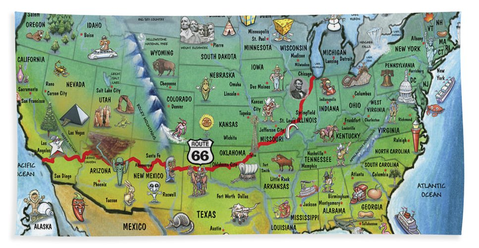 Historic Route 66 Cartoon Map Hand Towel for Sale by Kevin Middleton