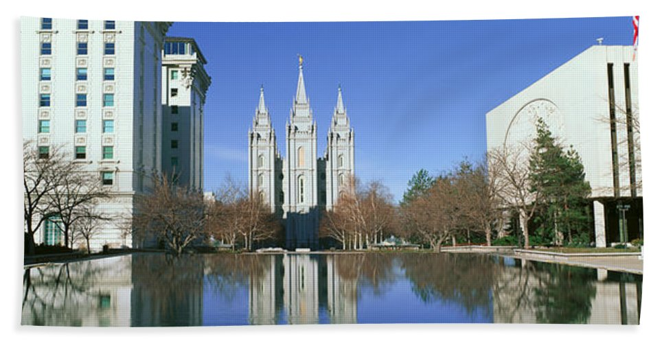 Photography Hand Towel featuring the photograph Historic Temple And Square In Salt Lake by Panoramic Images