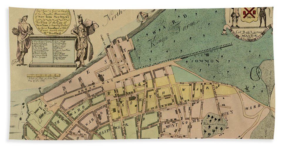 Manhattan Bath Sheet featuring the photograph Historical Manhattan Map 1728 by Andrew Fare