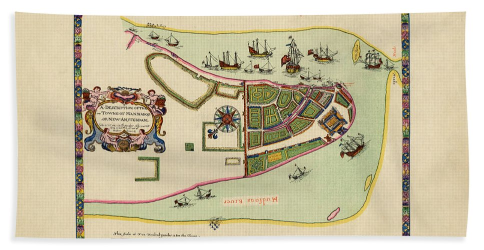 Manhattan Bath Sheet featuring the photograph Historical Map Of Manhattan 1661 by Andrew Fare