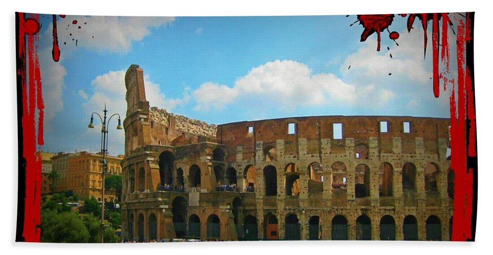 History Of Gladiators Bath Sheet featuring the photograph History Of The Gladiators by John Malone