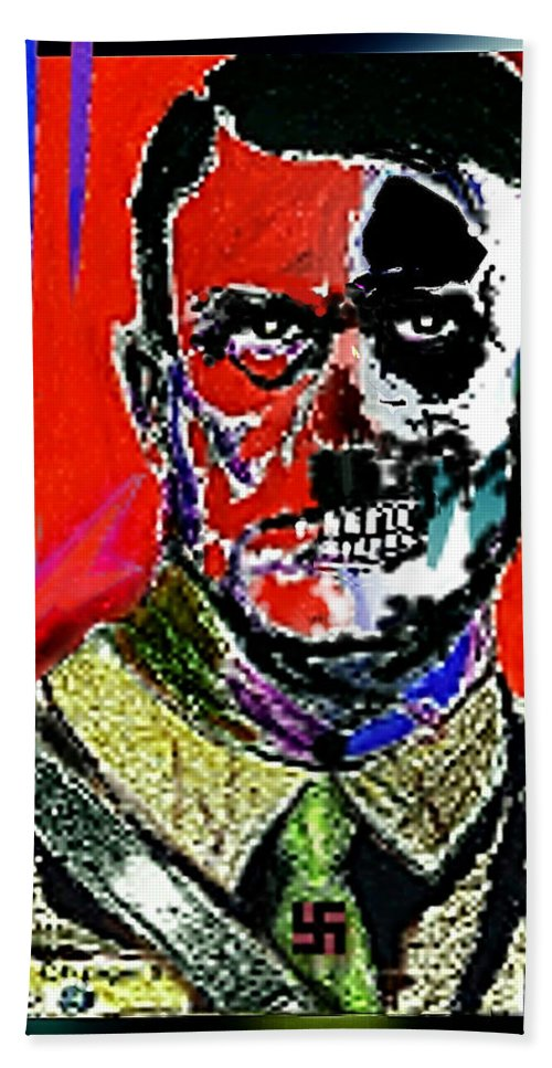 Evil Bath Sheet featuring the painting Hitler - The Face Of Evil by Hartmut Jager