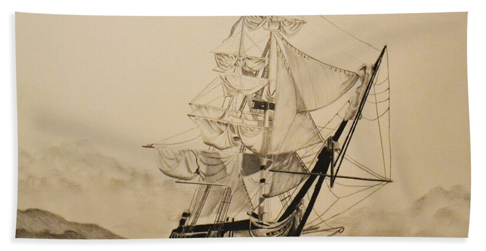 Hms Surprise Hand Towel featuring the drawing Hms Surprise by John Huntsman