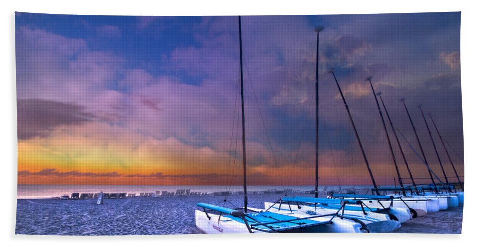 Boats Hand Towel featuring the photograph Hobecats by Debra and Dave Vanderlaan