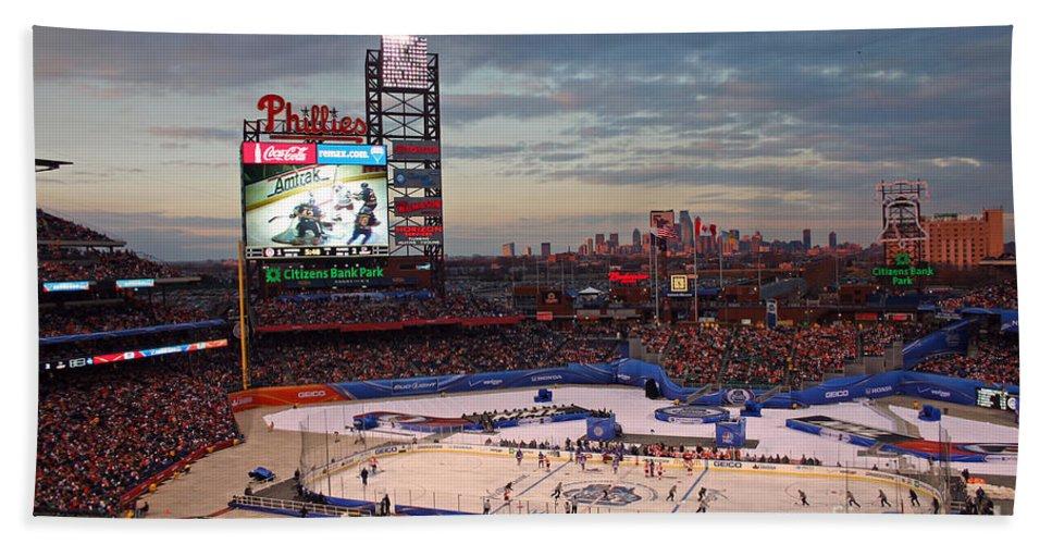 Hockey Hand Towel featuring the photograph Hockey At The Ballpark by David Rucker