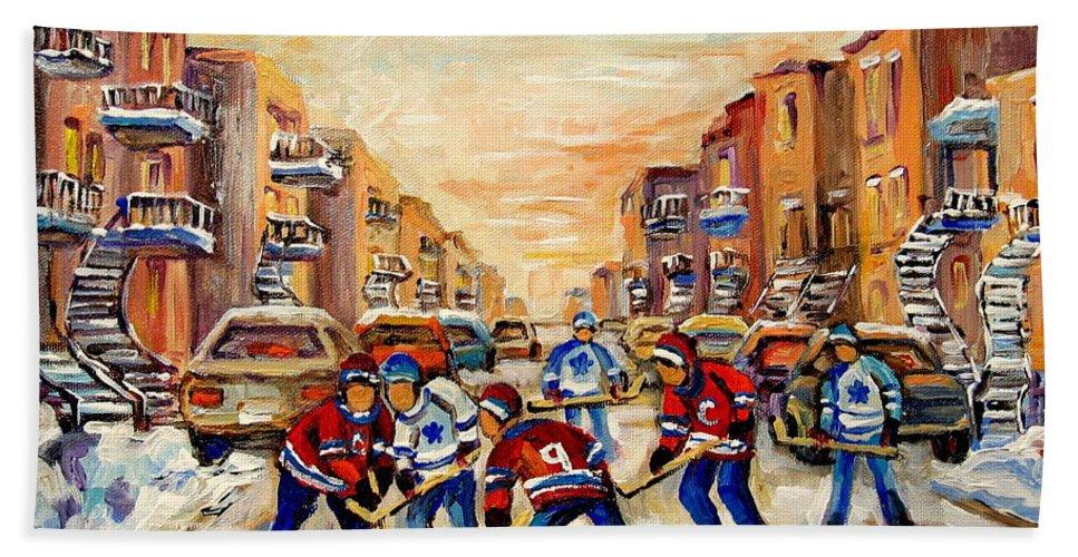 Hockey Daze Bath Towel featuring the painting Hockey Daze by Carole Spandau