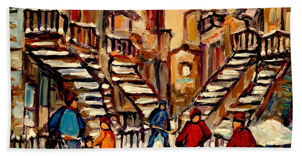 Montreal Bath Towel featuring the painting Hockey Game Near Winding Staircases Montreal Streetscene by Carole Spandau