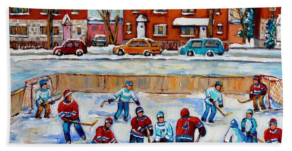 Hockey At Van Horne Montreal Hand Towel featuring the painting Hockey Rink At Van Horne Montreal by Carole Spandau