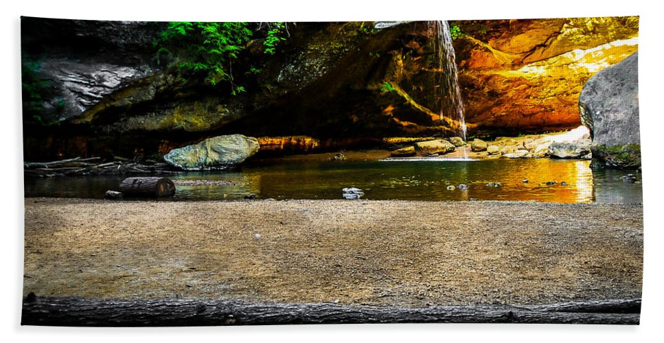 Opticalplaygroundbympray Bath Sheet featuring the photograph Hocking Hills Waterfall by Optical Playground By MP Ray