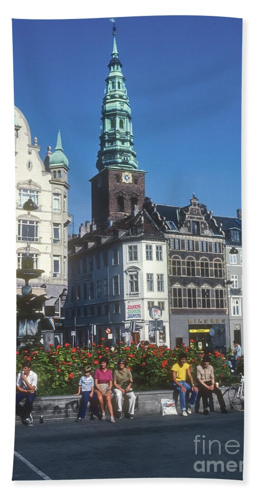 Højbro Hojbro Square Copenhagen Denmark City Squares Cities Cityscape Cityscapes St. Nicholas Church Tower Clock Towers Building Buildings Structures Stork Fountain Fountains People Person Persons Men Man Boy Boys Flower Flowers Creatures Hand Towel featuring the photograph Hojbro Square by Bob Phillips