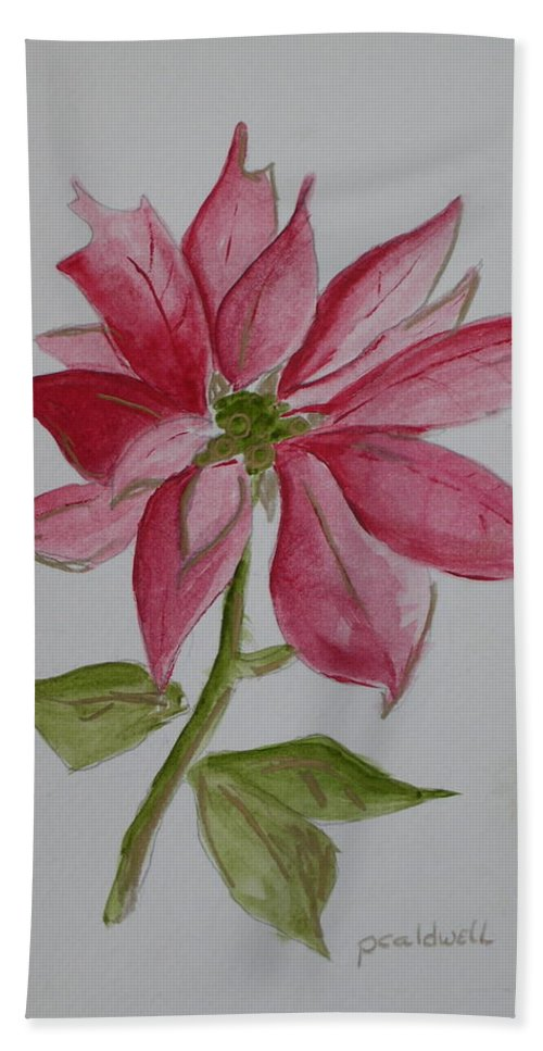 Flower Christmas Bath Towel featuring the painting Holiday Flower by Patricia Caldwell
