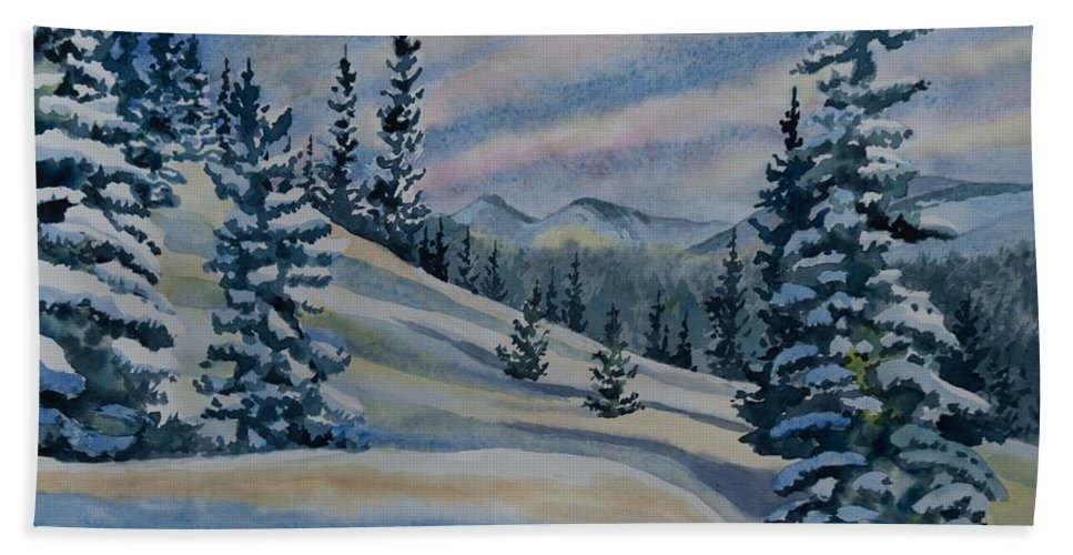 Happy Holidays Hand Towel featuring the painting Happy Holidays - Winter Landscape by Cascade Colors
