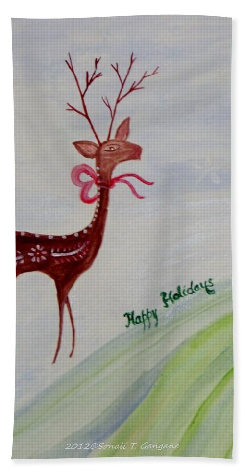 Holiday Cards Bath Sheet featuring the painting Holiday Greetings by Sonali Gangane