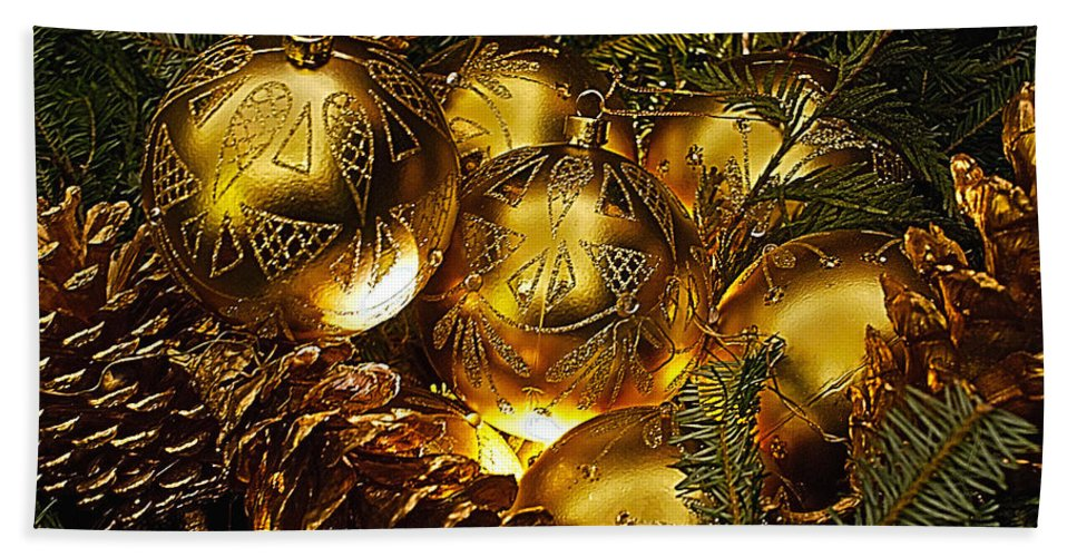 Holiday Hand Towel featuring the photograph Holiday Ornaments by Nick Zelinsky