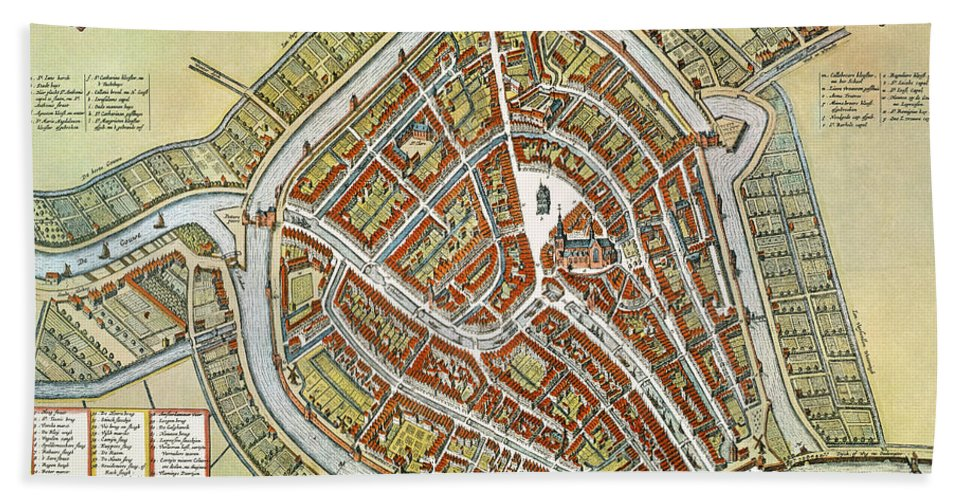 1649 Hand Towel featuring the photograph Holland: Gouda Plan, 1649 by Granger