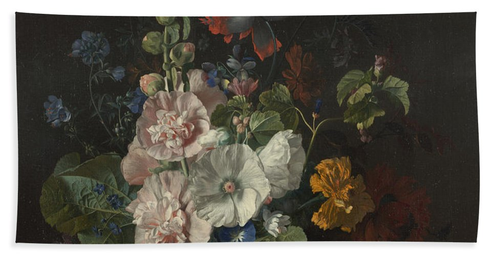 Jan Van Huysum Hand Towel featuring the painting Hollyhocks And Other Flowers In A Vase by Jan van Huysum
