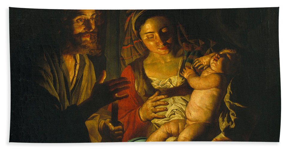 Matthias Stom Bath Sheet featuring the painting Holy Family by Matthias Stom