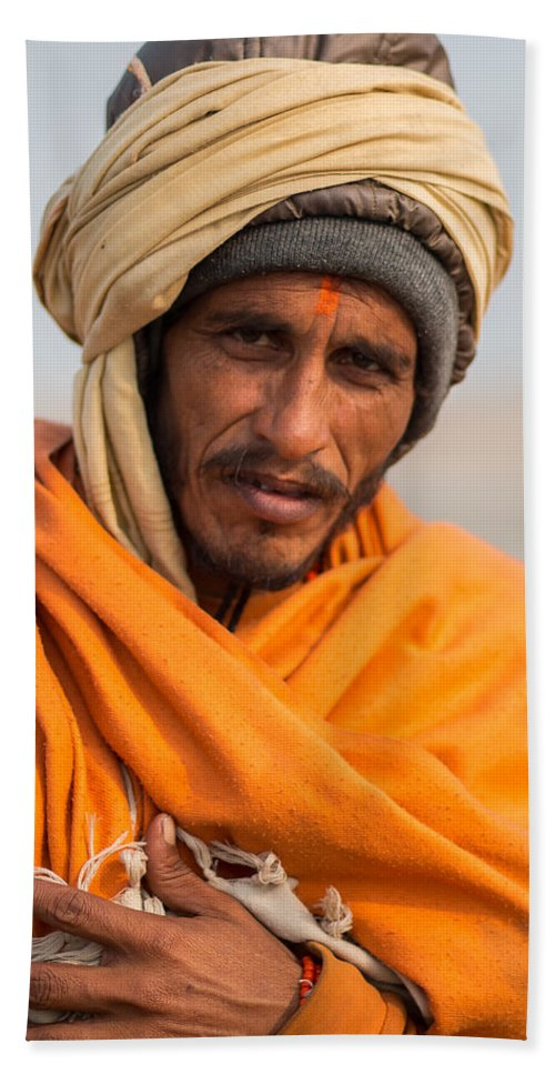Allahabad Hand Towel featuring the photograph Holy Saffron by Gaurav Singh