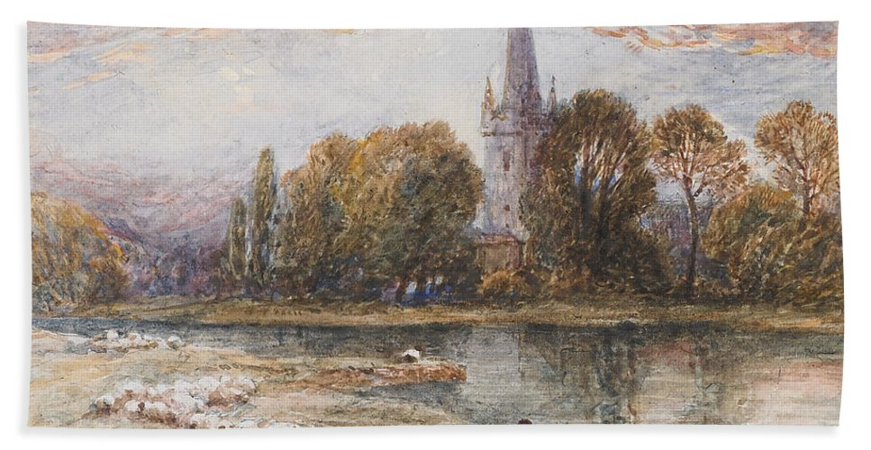 Holy Hand Towel featuring the painting Holy Trinity Church On The Banks If The River Avon Stratford Upon Avon by Myles Birket Foster