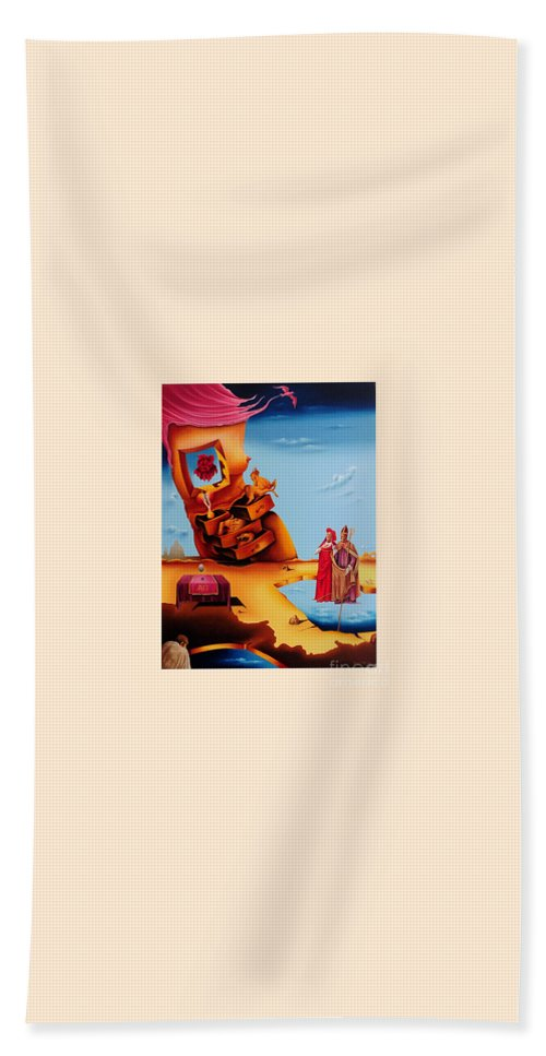 Surreal Hand Towel featuring the painting Surreal Holy Virgin, M27 by Johannes Murat