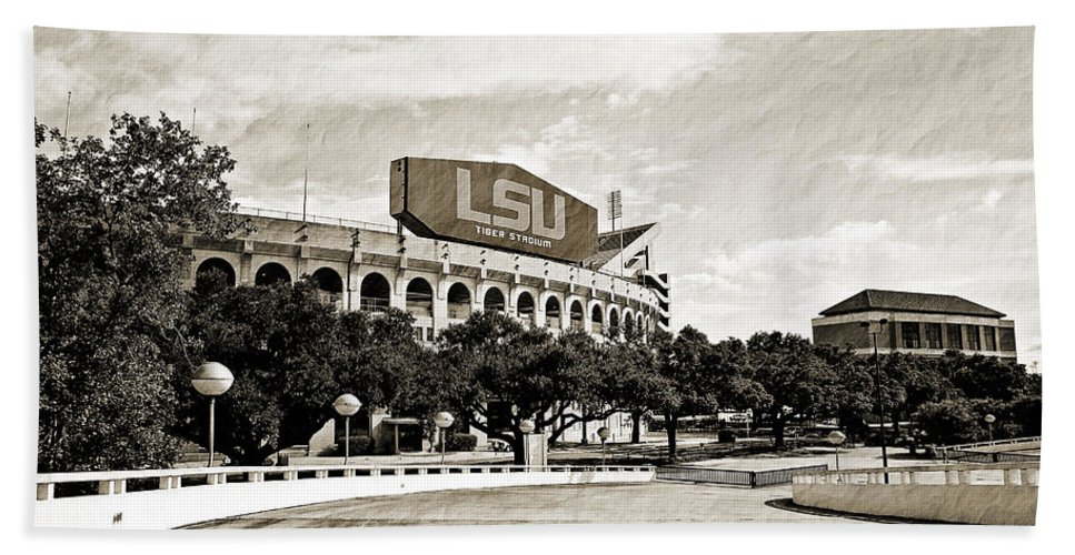 Lsu Hand Towel featuring the photograph Home Field Advantage - Sepia Toned Texture by Scott Pellegrin