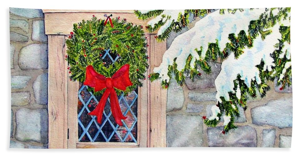 Holidays Bath Towel featuring the painting Home For The Holidays by Mary Ellen Mueller Legault
