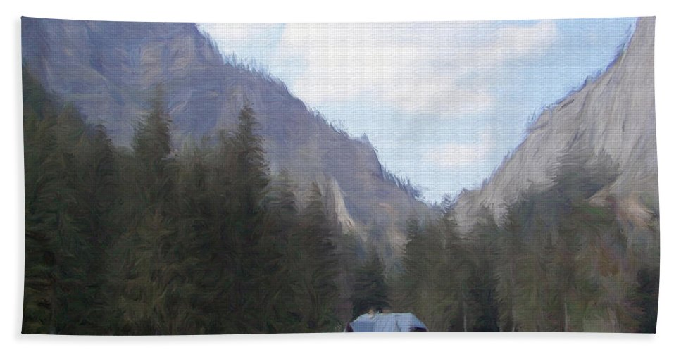 Alone Hand Towel featuring the painting Home In The Mountains by Jeffrey Kolker