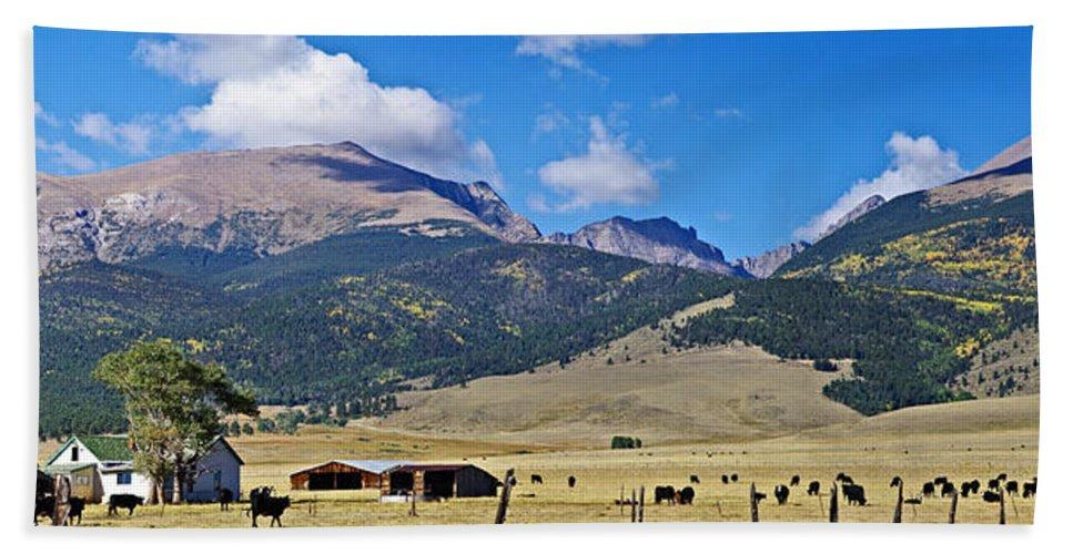 Colorado Photographs Bath Sheet featuring the photograph Home On The Range - A Westcliffe Ranch by Gary Benson