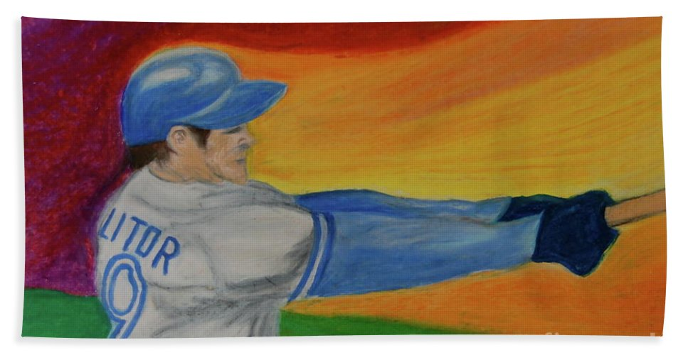 Baseball Hand Towel featuring the drawing Home Run Swing Baseball Batter by First Star Art