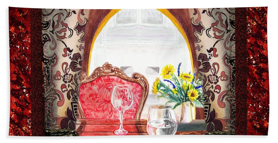 Home Hand Towel featuring the painting Home Sweet Home Decorative Design Welcoming Two by Irina Sztukowski