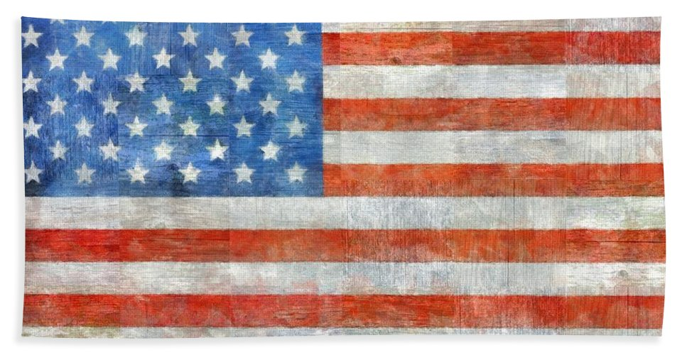 Flag Hand Towel featuring the painting Homeland by Michelle Calkins
