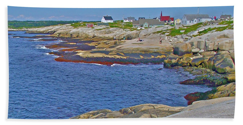 Homes Across Peggy's Cove Hand Towel featuring the photograph Homes Across Peggy's Cove-ns by Ruth Hager