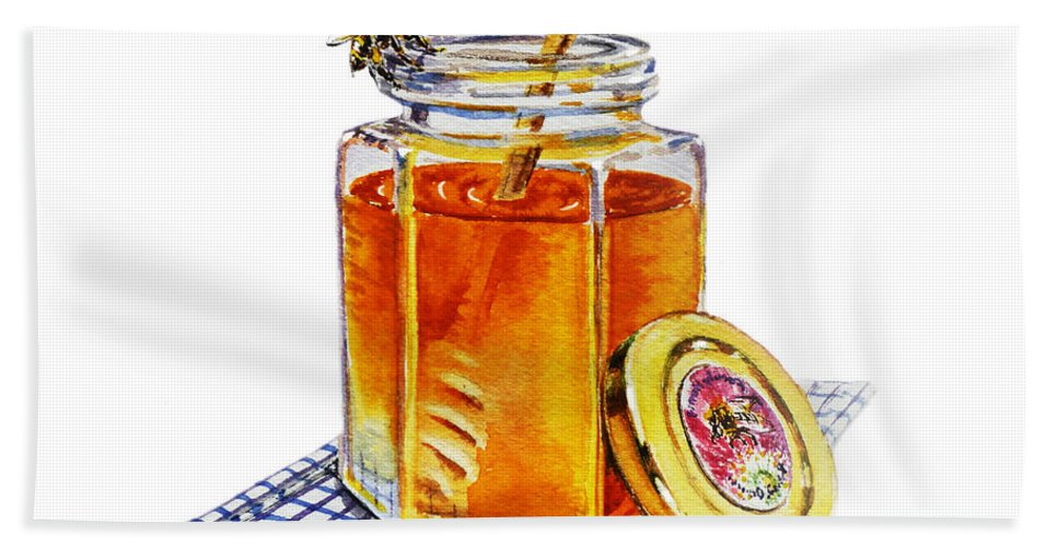 Honey Hand Towel featuring the painting Honey by Irina Sztukowski