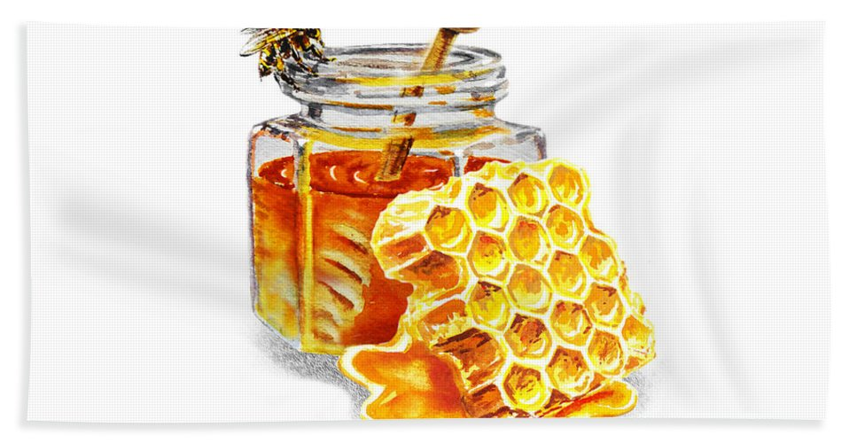 Honey Hand Towel featuring the painting Honey Jar And Honeycomb by Irina Sztukowski