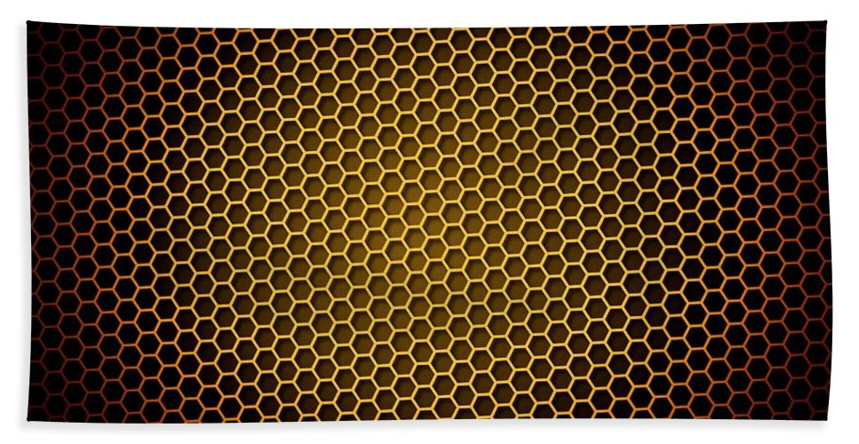 Abstract Hand Towel featuring the digital art Honeycomb Background by Henrik Lehnerer
