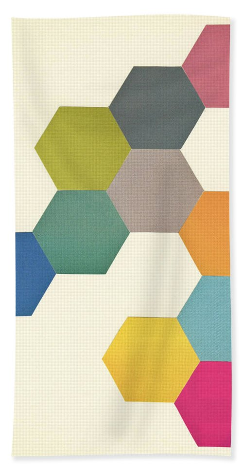 Honeycomb Hand Towel featuring the mixed media Honeycomb I by Cassia Beck