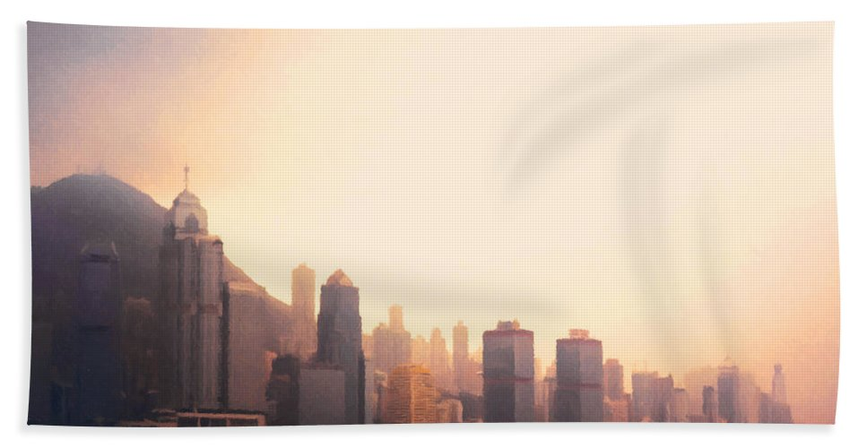Hong Kong Hand Towel featuring the painting Hong Kong Harbour Sunset by Pixel Chimp