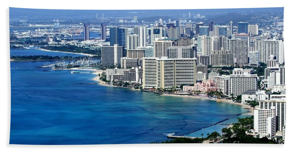 Honolulu Bath Sheet featuring the photograph Honolulu And Waikiki From Diamond Head by Mary Deal