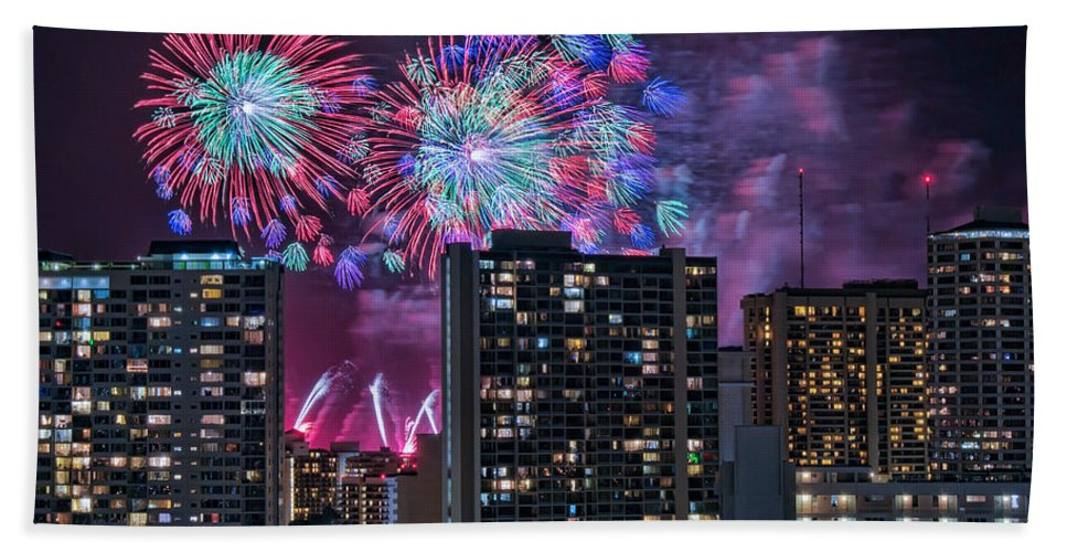 Hawaii Hand Towel featuring the photograph Honolulu Festival Fireworks by Dan McManus