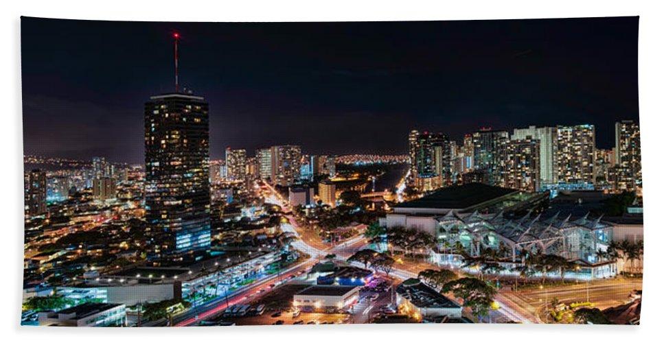 Hawaii Hand Towel featuring the photograph Honolulu Night Panorama by Dan McManus