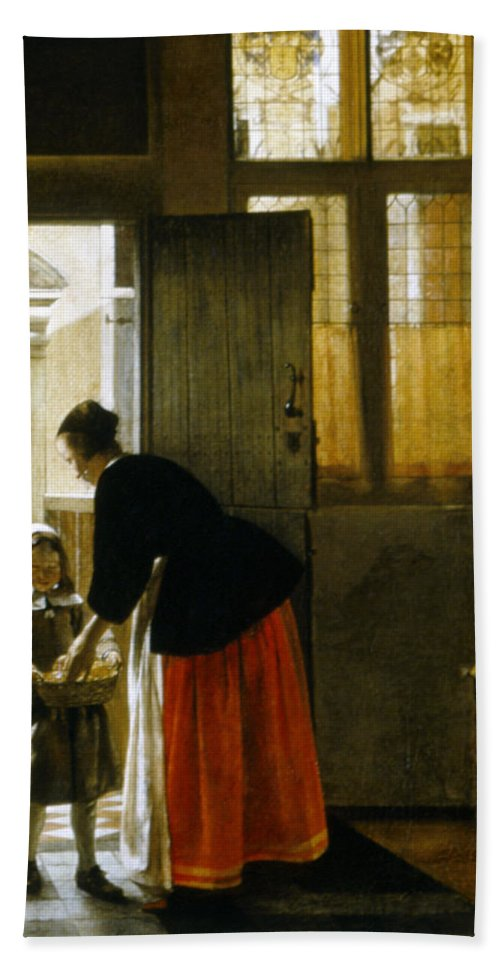 1663 Bath Sheet featuring the painting Hooch Boy & Bread, C1663 by Granger