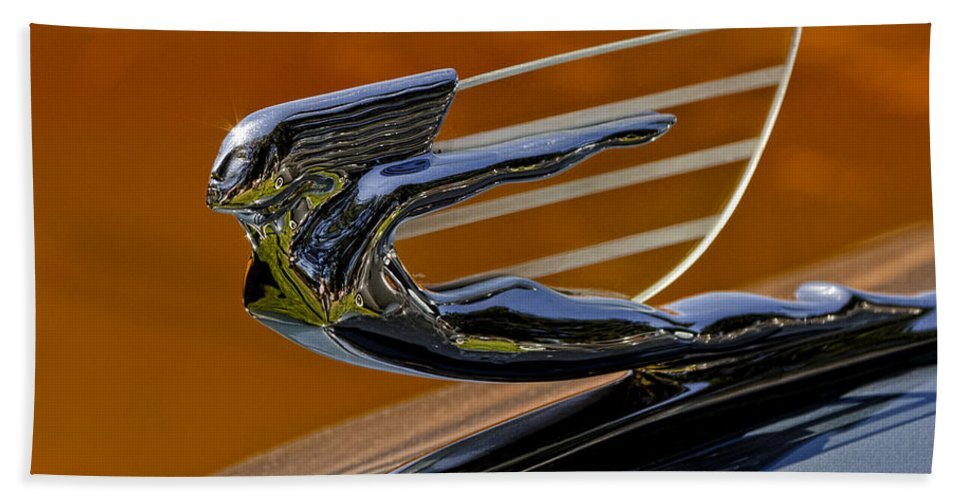 Hood Ornament Hand Towel featuring the photograph Hood Ornament by Wes and Dotty Weber