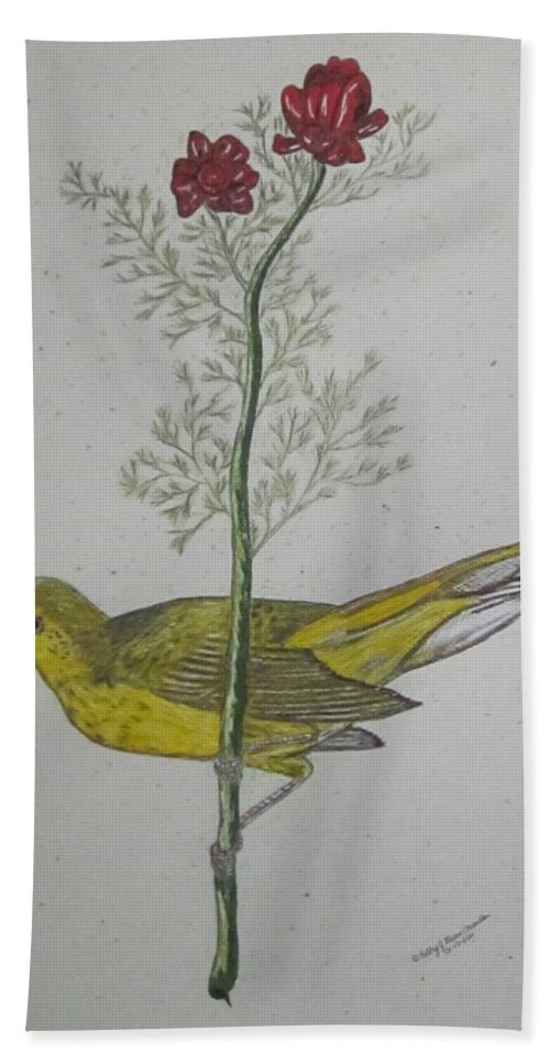Hooded Warbler Bath Sheet featuring the painting Hooded Warbler by Kathy Marrs Chandler