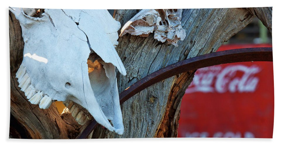 Cow Skull Photograph. Coca Cola Photograph Hand Towel featuring the photograph Hooked On Pepsi by Jim Garrison
