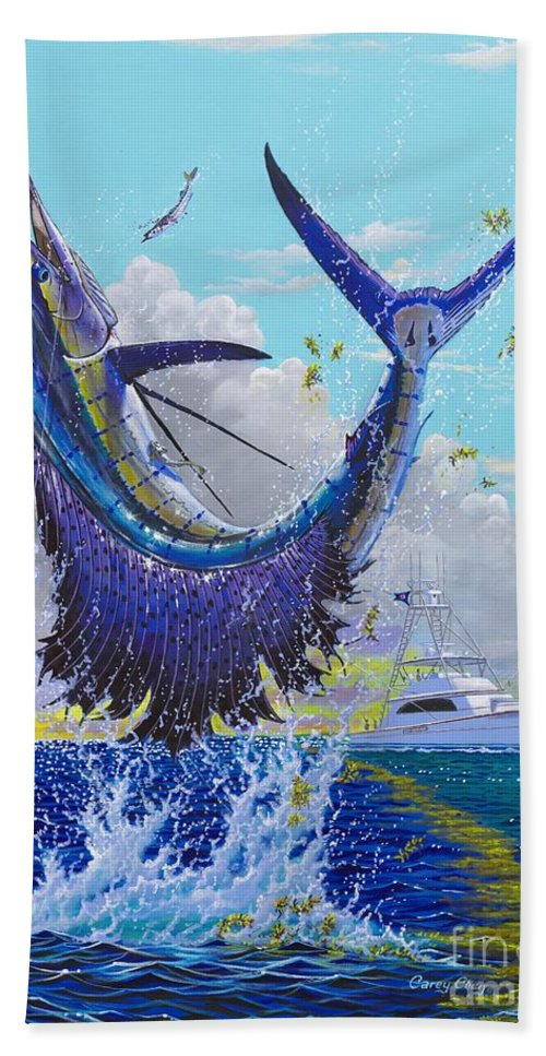 Sailfish Hand Towel featuring the painting Hooked Up Off004 by Carey Chen