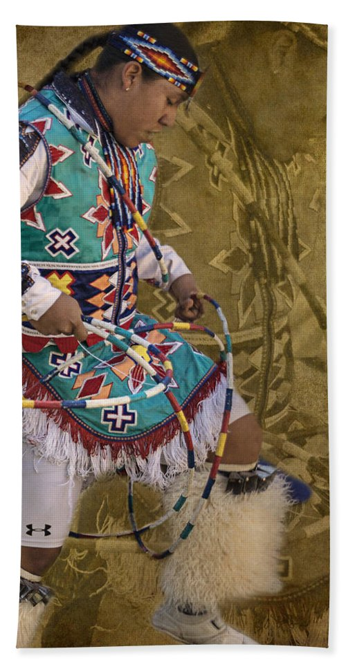 Native American Hand Towel featuring the photograph Hoop Dancer Past And Present by Priscilla Burgers