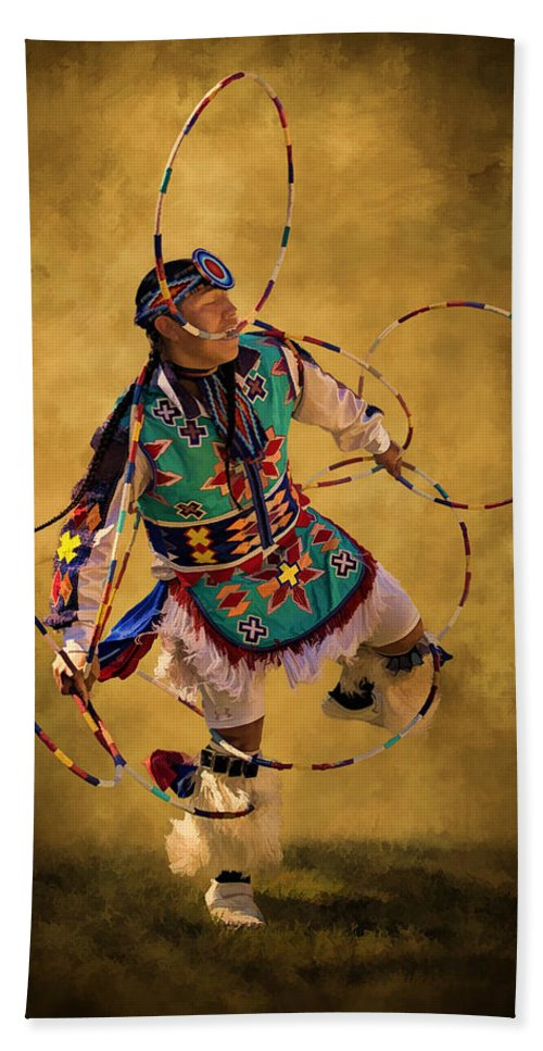 Native American Art Hand Towel featuring the photograph Hooping His Heart Out by Priscilla Burgers